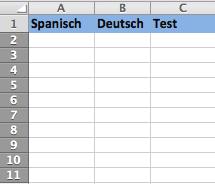 Sprachen lernen Excel - Schritt 1