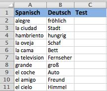 Sprachen lernen Excel - Schritt 3