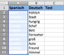 Sprachen lernen Excel - Schritt 4